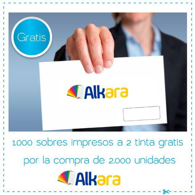 1.000 sobres impresos a 2 tinta gratis por la compra de 2.000 unidades en Alkara