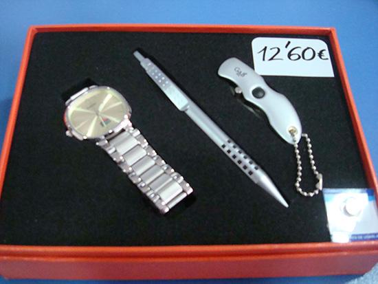 Pack Reloj+boligrafo+navaja+linterna+pila por 12,60€. Dile que vas de parte de AlcorconHoy.