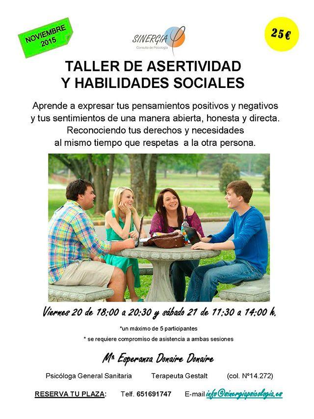 Plan eficacia en la vida social con habilidades de comunicación de Sinergia psicología Alcorcón