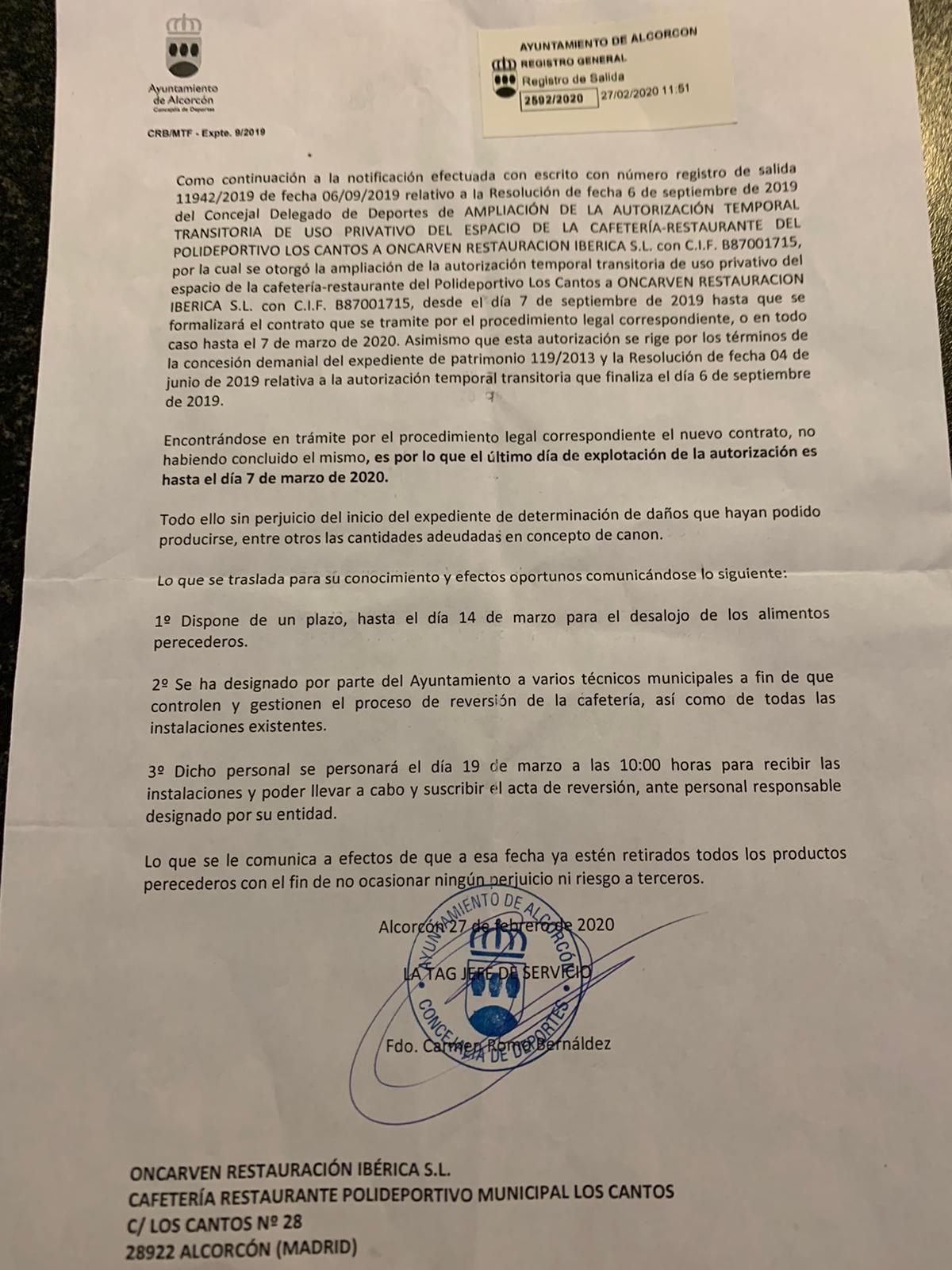 Notificación - La cafetería del Polideportivo Los Cantos de Alcorcón cerrará el 7 de marzo