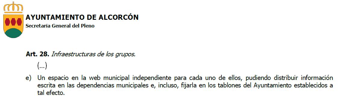 Vox Alcorcón solicita un espacio en la web municipal para los grupos de la oposición