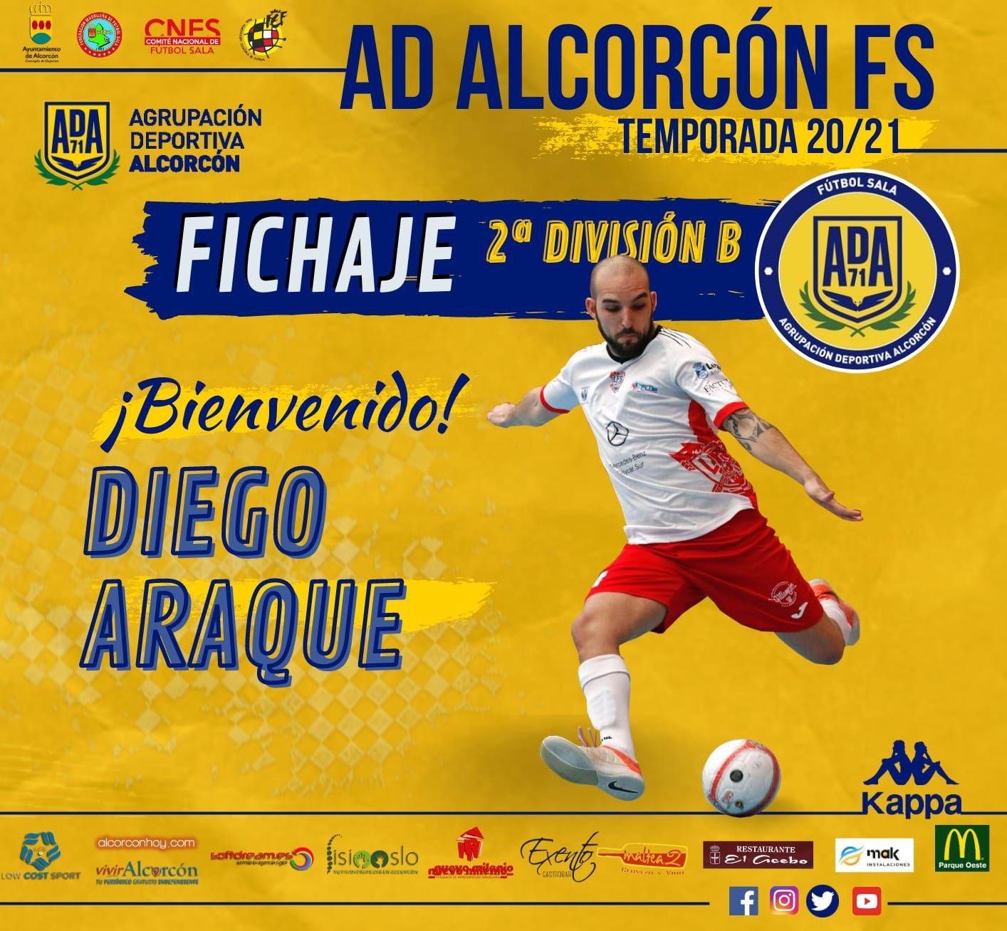 El AD Alcorcón FS cierra la plantilla con el fichaje de Diego Araque