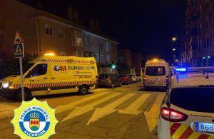 Accidente por vuelco de un vehículo en Alcorcón