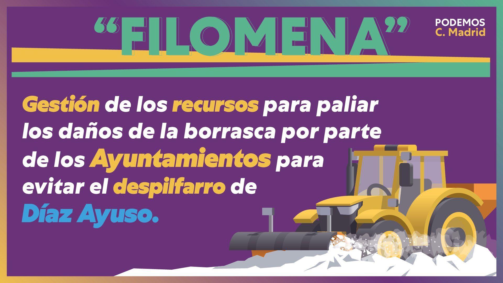 Podemos pide que sean los ayuntamientos quienes gestionen los recursos para paliar los daños de Filomena