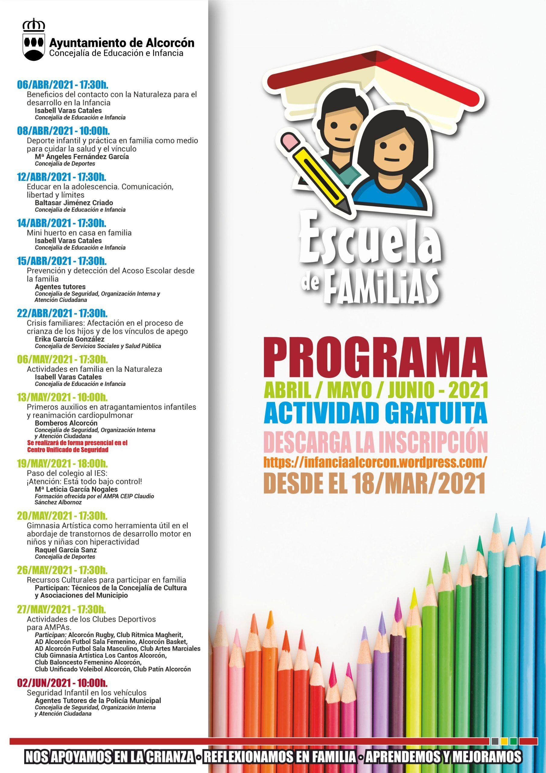 Nueva programación de la Escuela de Familias de Alcorcón