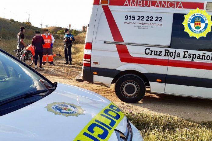 Caída de ciclista en Alcorcón