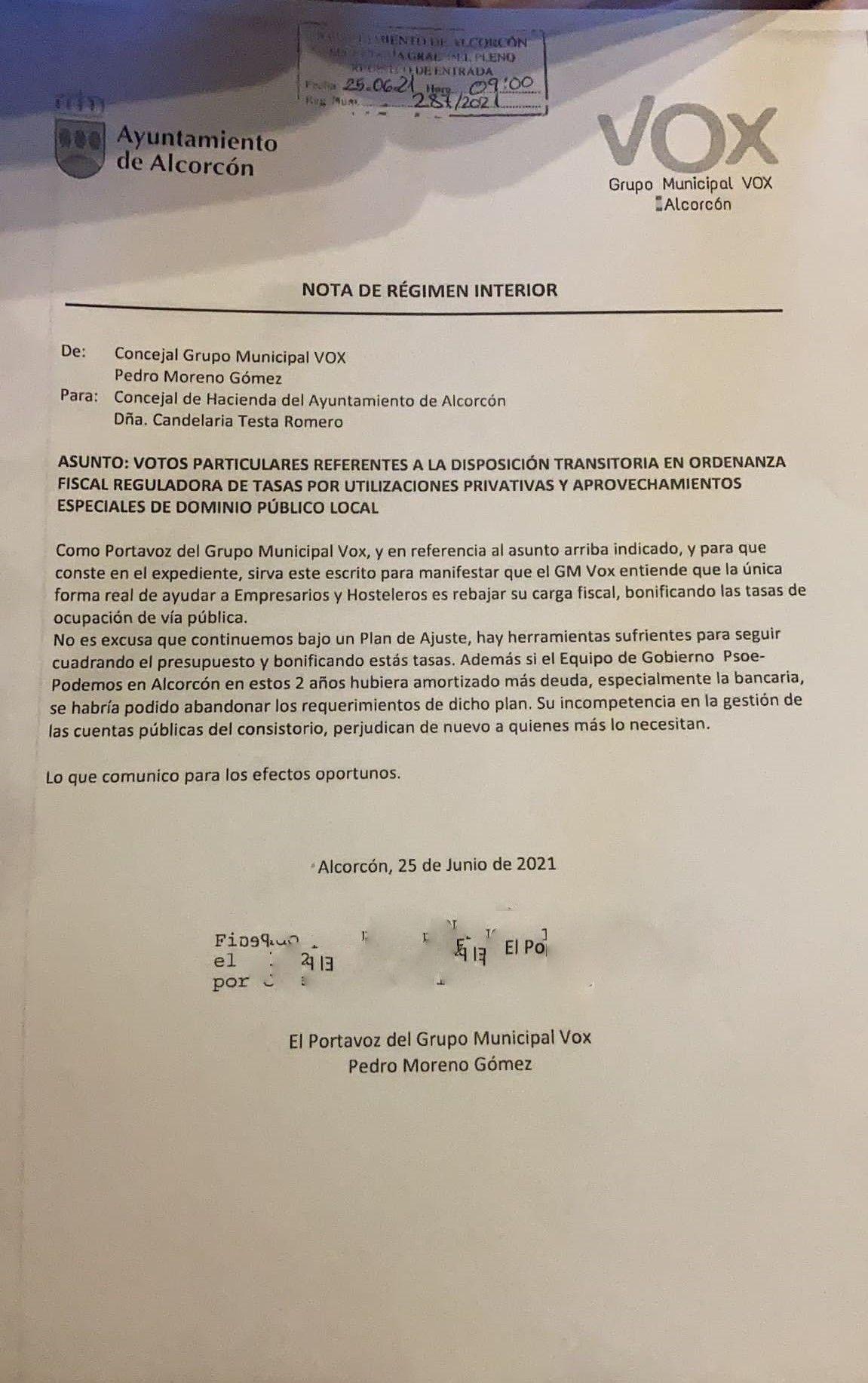 Vox Alcorcón considera que la modificación de la tasa de terrazas llega con retraso