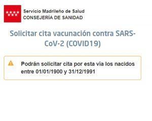 Cuándo vacunarán contra el Covid-19 a los menores de 30 años de Alcorcón