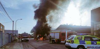 Incendio de un autobús en Alcorcón