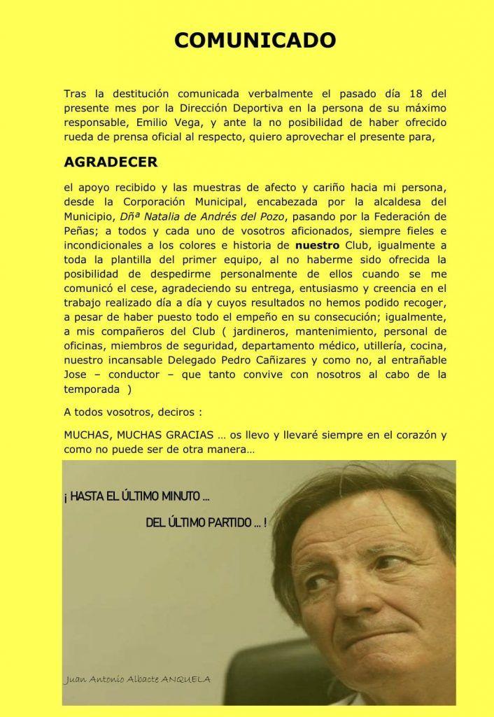 Carta abierta de Anquela tras su despido del Alcorcón